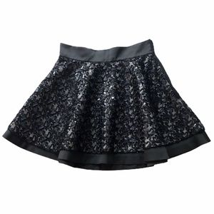 NWT Aivei Black Sequin Textured Circle Skirt